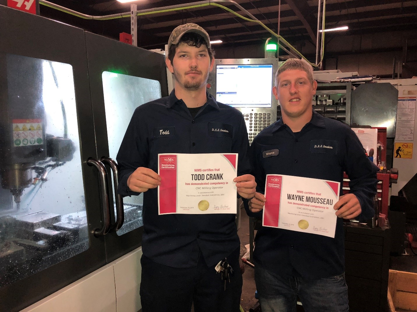 Two D A S Machinists Earn Their Nims Manufacturing